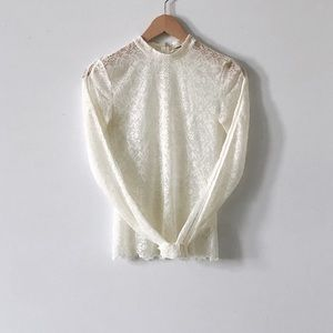 Aritzia Wilfred White Bréval Blouse Lace Mock Neck